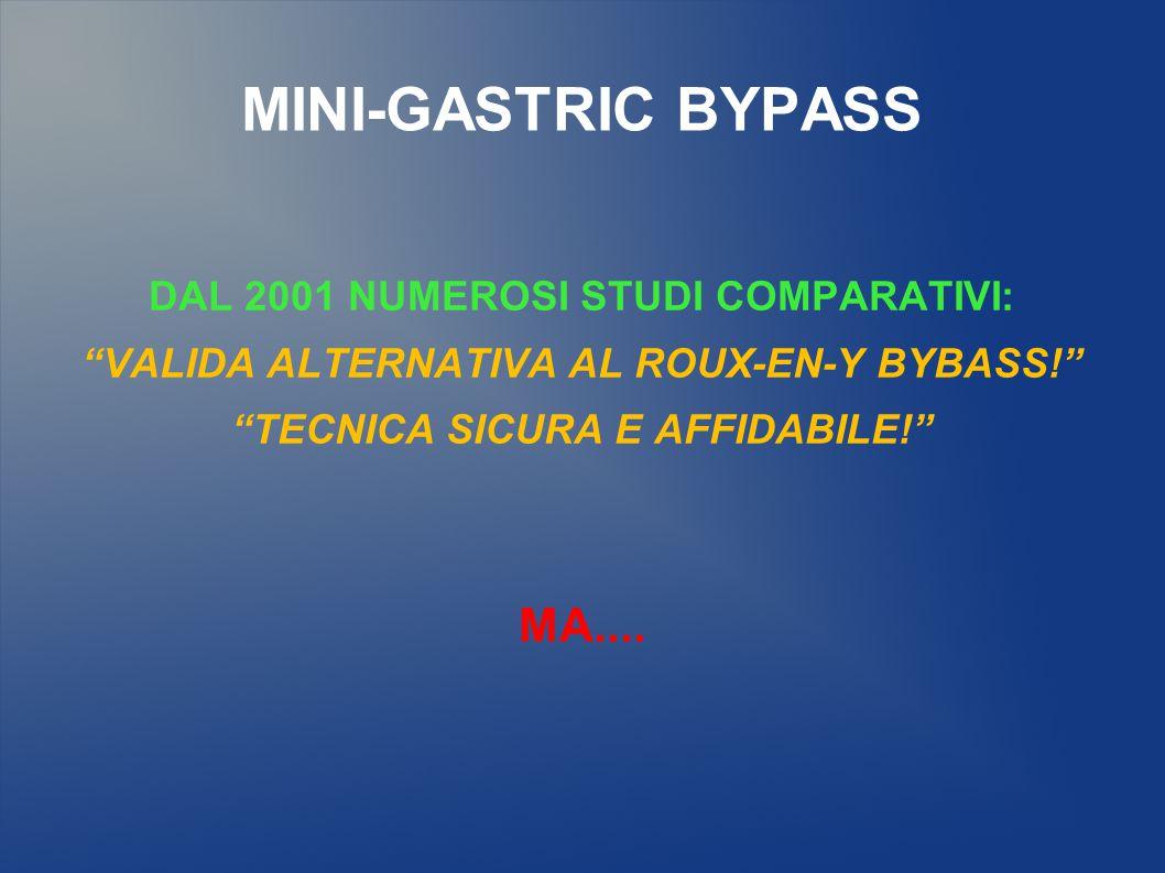 MINI-GASTRIC BYPASS MA.... DAL 2001 NUMEROSI STUDI COMPARATIVI: