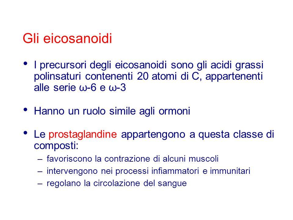 Gli eicosanoidi I precursori degli eicosanoidi sono gli acidi grassi polinsaturi contenenti 20 atomi di C, appartenenti alle serie ω-6 e ω-3.