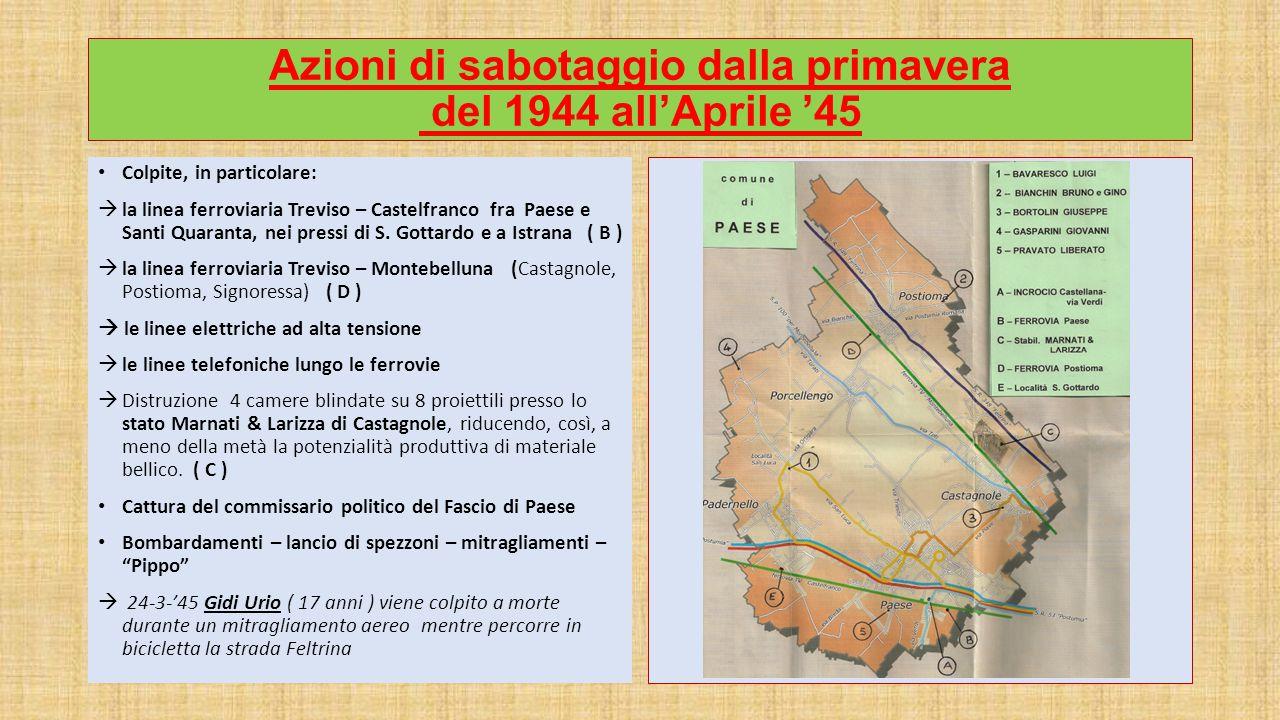 Azioni di sabotaggio dalla primavera del 1944 all'Aprile '45