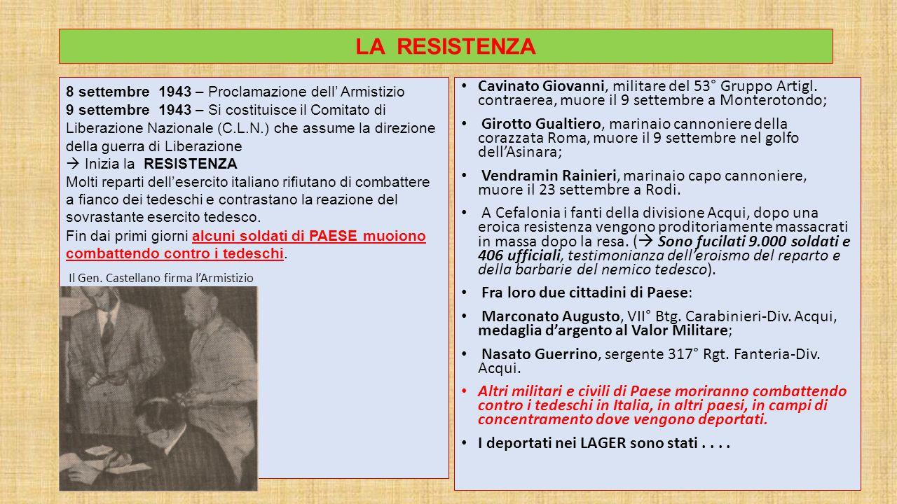 LA RESISTENZA 8 settembre 1943 – Proclamazione dell' Armistizio.