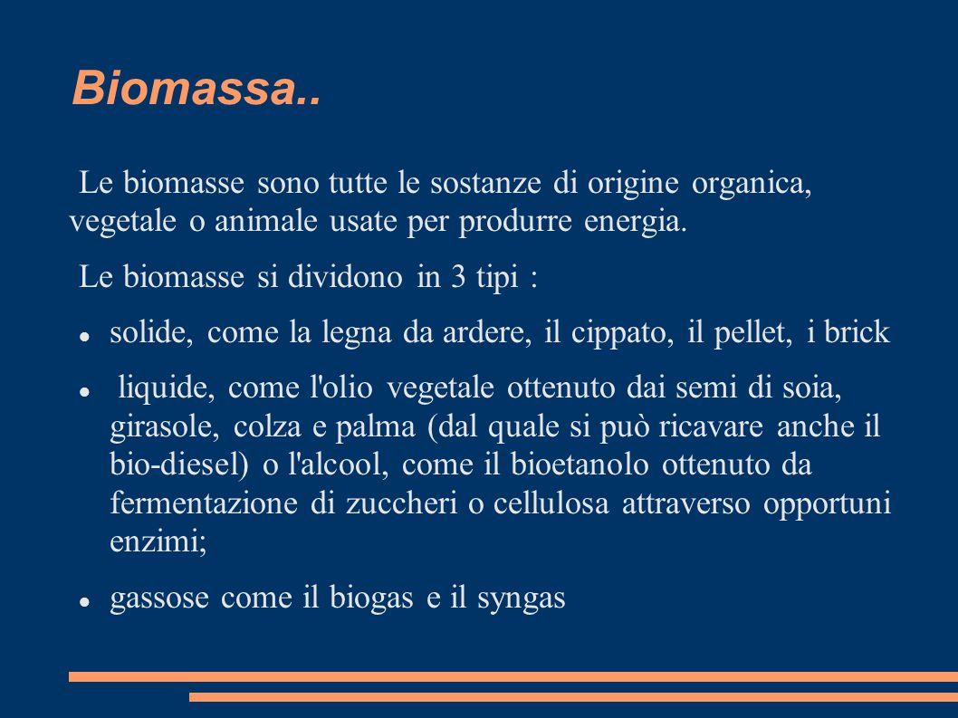 Biomassa.. Le biomasse sono tutte le sostanze di origine organica, vegetale o animale usate per produrre energia.