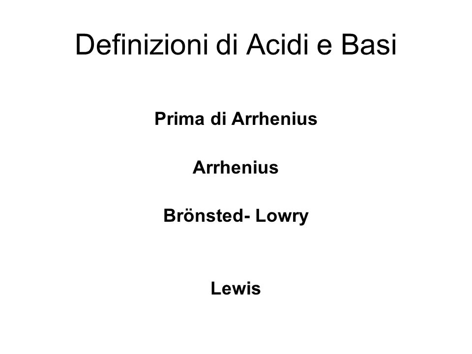 Definizioni di Acidi e Basi