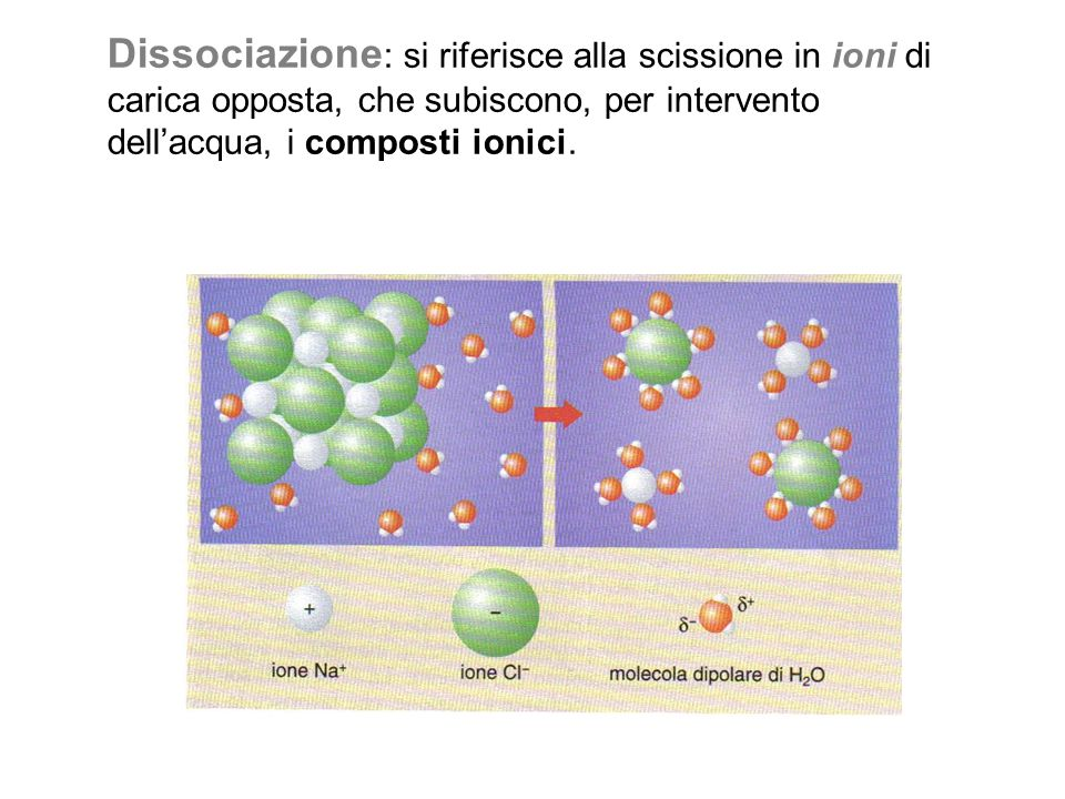 Dissociazione: si riferisce alla scissione in ioni di carica opposta, che subiscono, per intervento dell'acqua, i composti ionici.