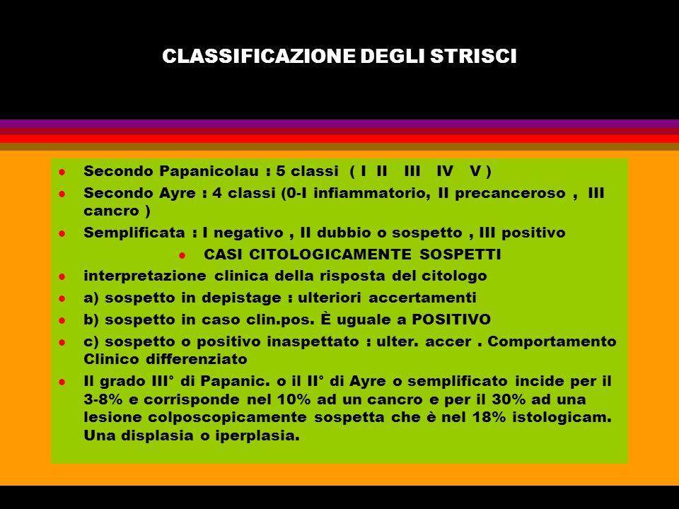 CLASSIFICAZIONE DEGLI STRISCI