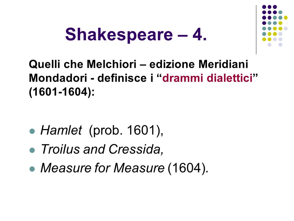 Shakespeare – 4. Hamlet (prob. 1601), Troilus and Cressida,