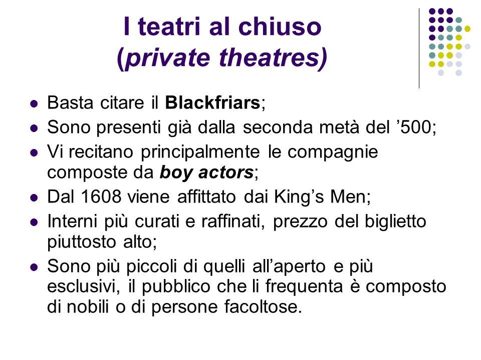 I teatri al chiuso (private theatres)