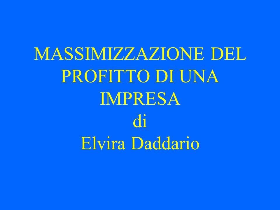 MASSIMIZZAZIONE DEL PROFITTO DI UNA IMPRESA di Elvira Daddario