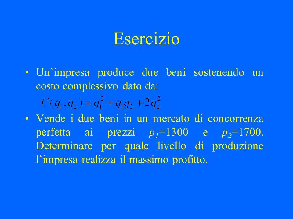 Esercizio Un'impresa produce due beni sostenendo un costo complessivo dato da: