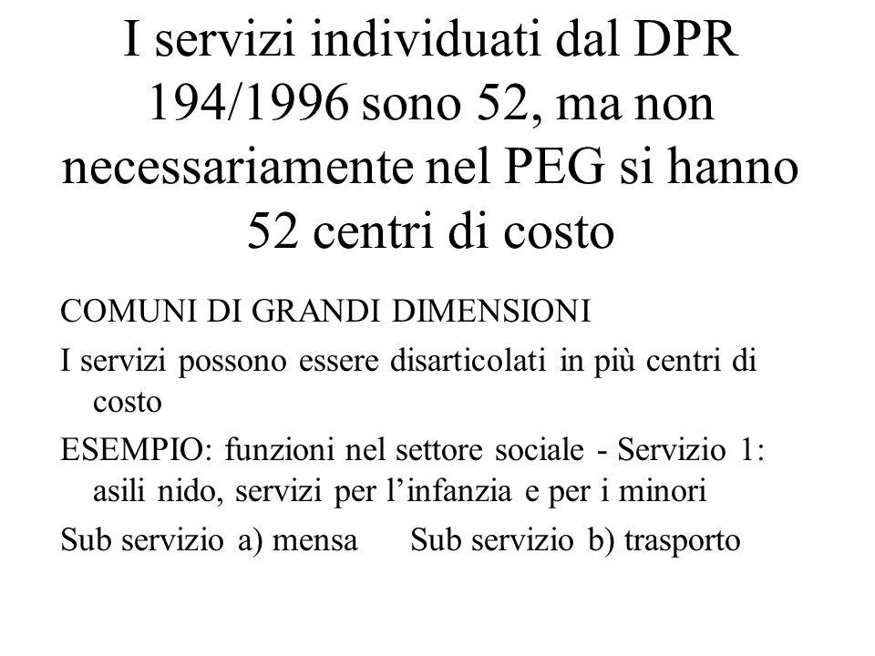 I servizi individuati dal DPR 194/1996 sono 52, ma non necessariamente nel PEG si hanno 52 centri di costo