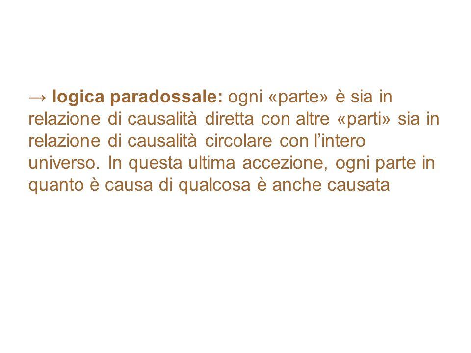 → logica paradossale: ogni «parte» è sia in relazione di causalità diretta con altre «parti» sia in relazione di causalità circolare con l'intero universo.