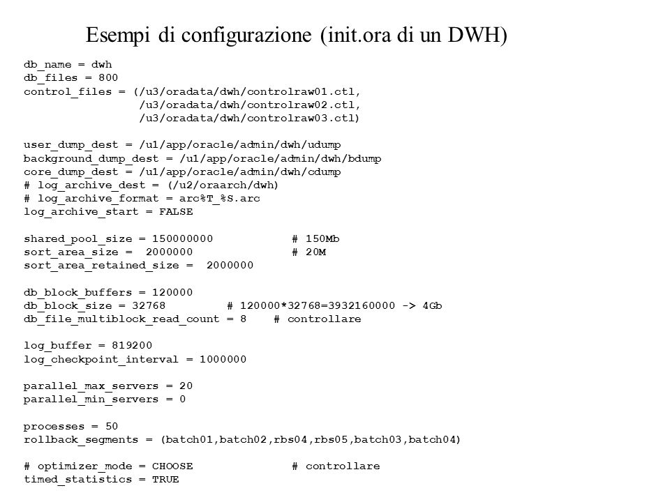 Esempi di configurazione (init.ora di un DWH)