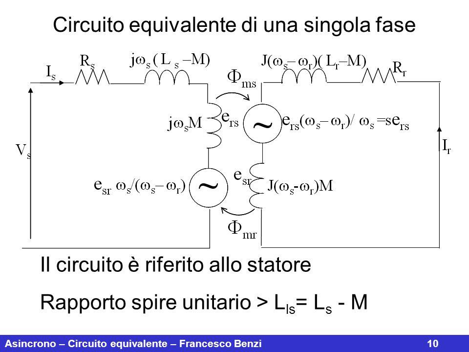 Circuito equivalente di una singola fase