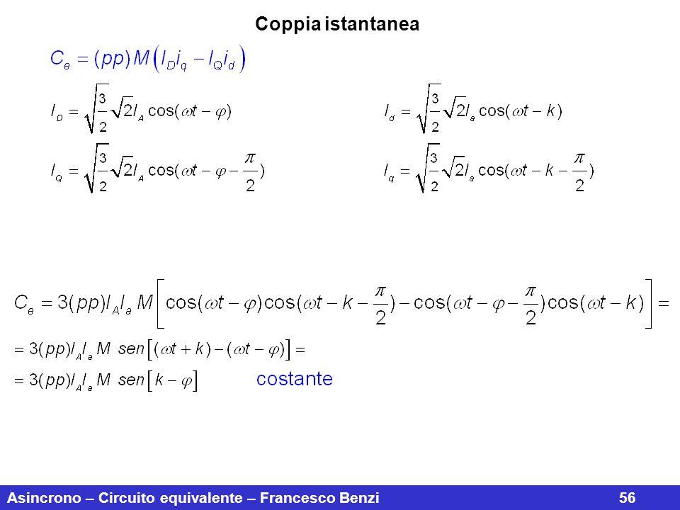 Coppia istantanea Asincrono – Circuito equivalente – Francesco Benzi 56