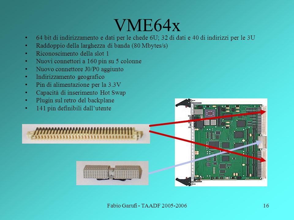 VME64x 64 bit di indirizzamento e dati per le chede 6U; 32 di dati e 40 di indirizzi per le 3U. Raddoppio della larghezza di banda (80 Mbytes/s)