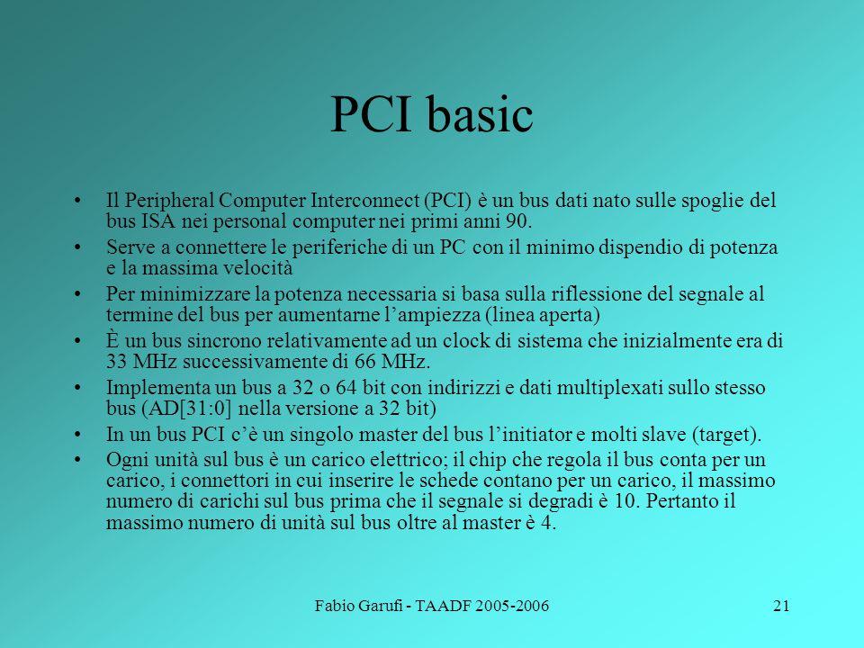 PCI basic Il Peripheral Computer Interconnect (PCI) è un bus dati nato sulle spoglie del bus ISA nei personal computer nei primi anni 90.