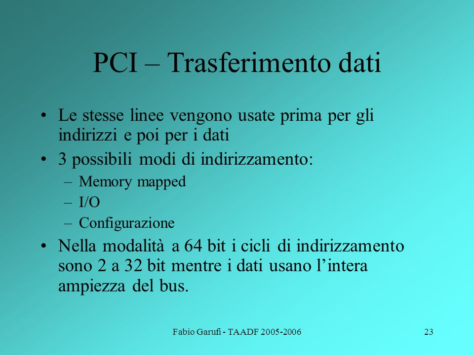 PCI – Trasferimento dati