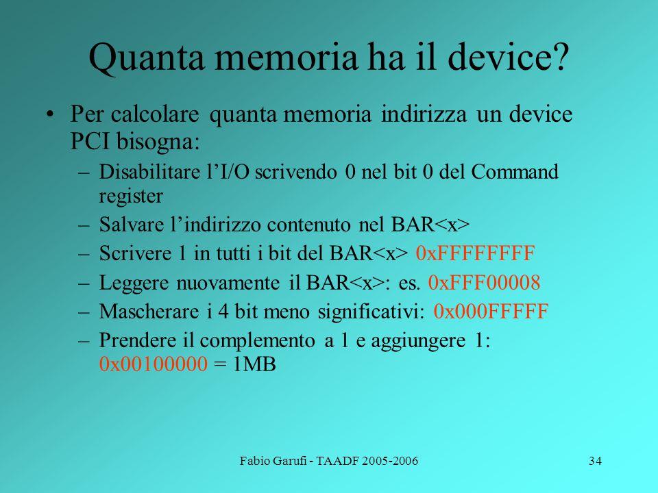 Quanta memoria ha il device