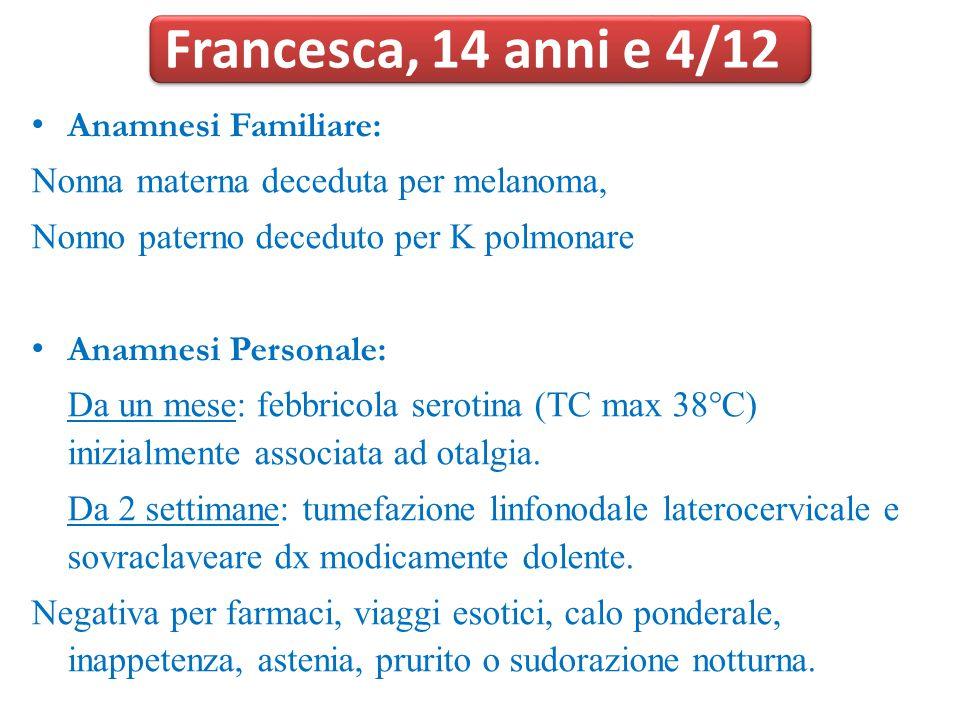 Francesca, 14 anni e 4/12 Anamnesi Familiare:
