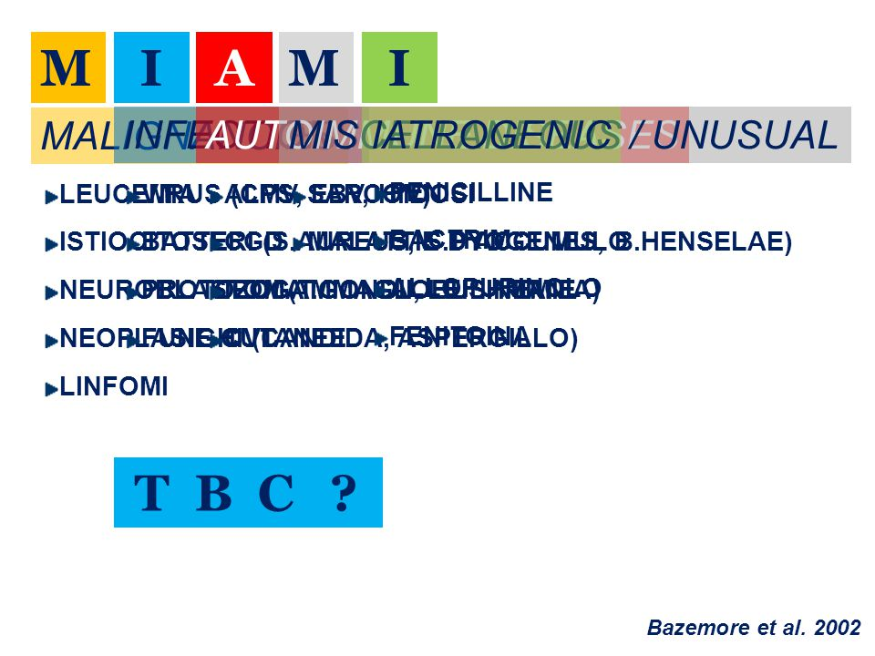M I A M I T B C MALIGNANCIES INFECTIONS AUTOIMMUNE DISEASES