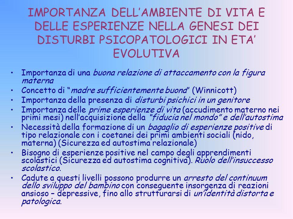 IMPORTANZA DELL'AMBIENTE DI VITA E DELLE ESPERIENZE NELLA GENESI DEI DISTURBI PSICOPATOLOGICI IN ETA' EVOLUTIVA