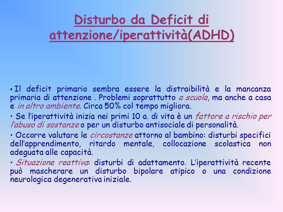 Disturbo da Deficit di attenzione/iperattività(ADHD)