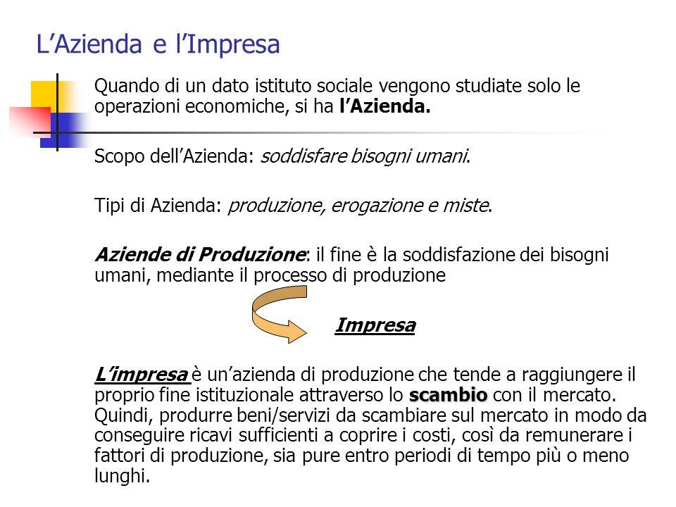 L'Azienda e l'Impresa Quando di un dato istituto sociale vengono studiate solo le operazioni economiche, si ha l'Azienda.