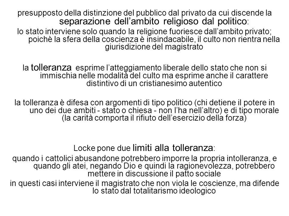 Locke pone due limiti alla tolleranza: