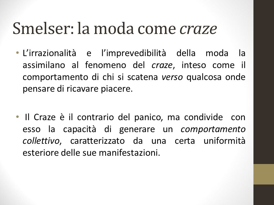 Smelser: la moda come craze
