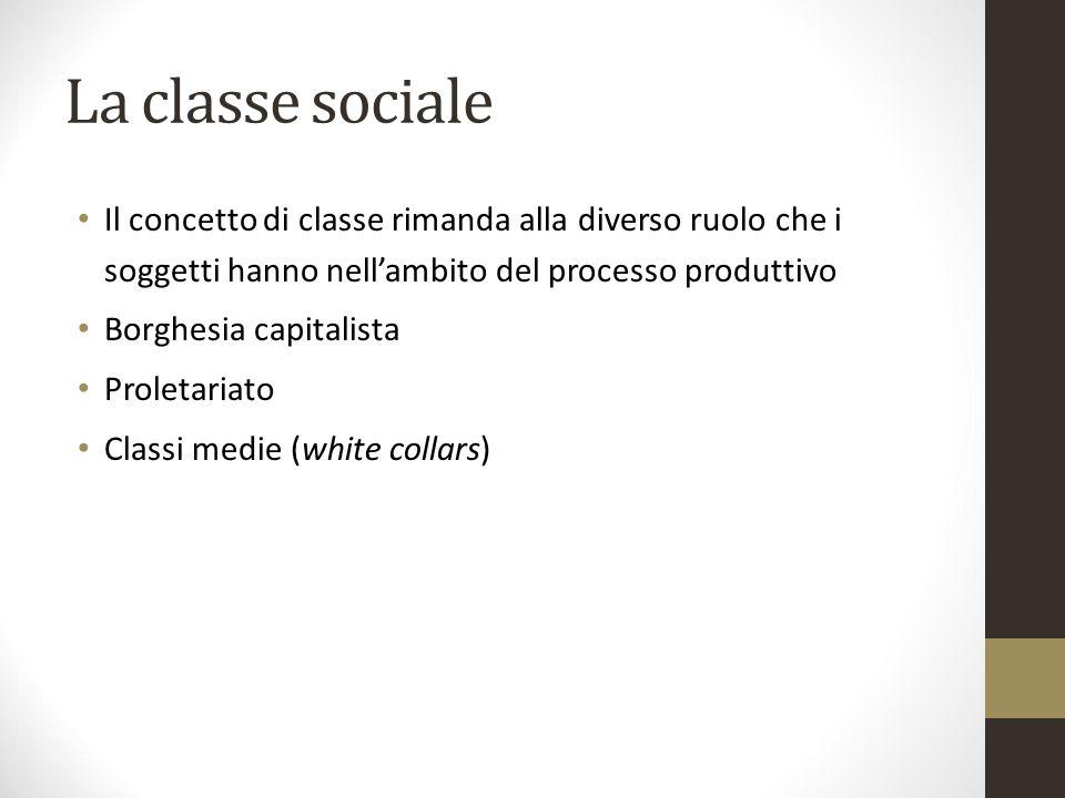 La classe sociale Il concetto di classe rimanda alla diverso ruolo che i soggetti hanno nell'ambito del processo produttivo.