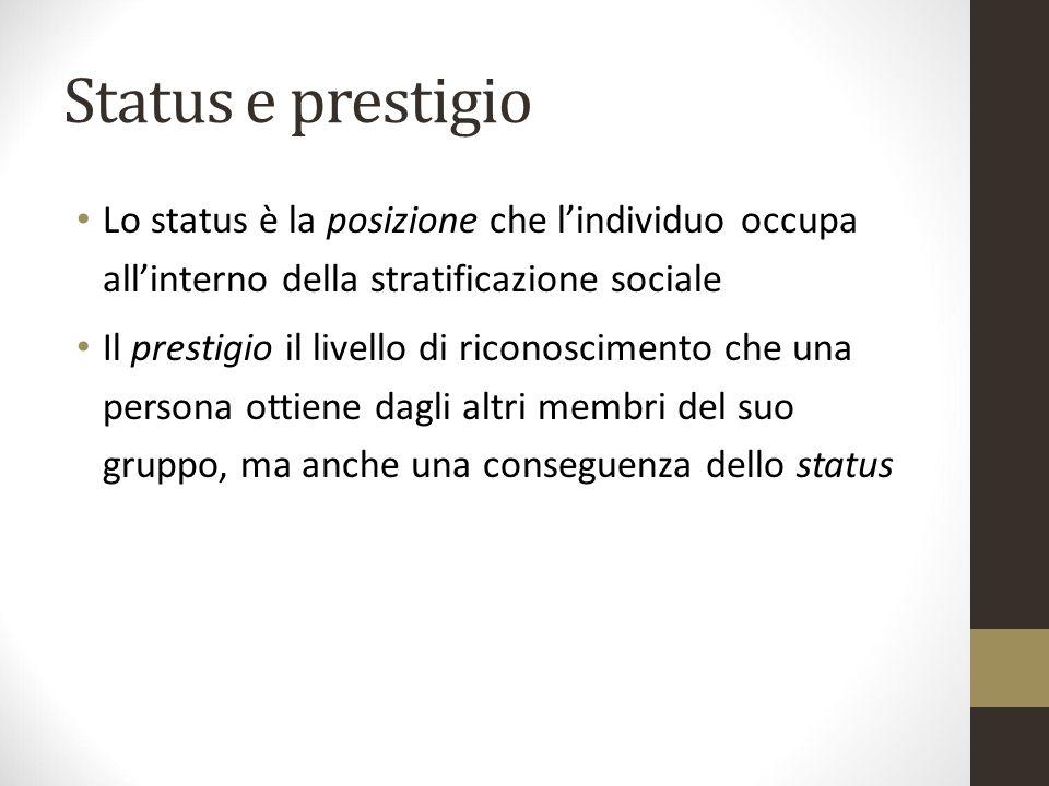 Status e prestigio Lo status è la posizione che l'individuo occupa all'interno della stratificazione sociale.