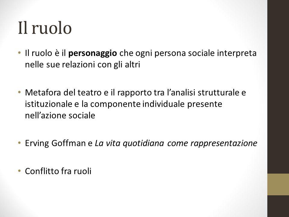 Il ruolo Il ruolo è il personaggio che ogni persona sociale interpreta nelle sue relazioni con gli altri.