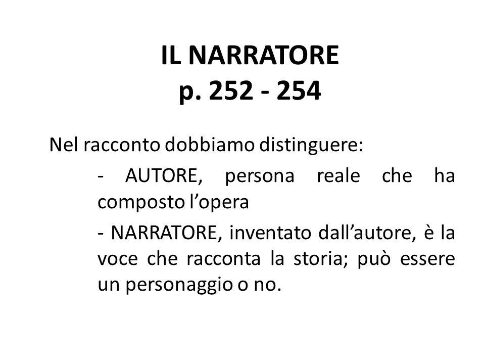 IL NARRATORE p. 252 - 254 Nel racconto dobbiamo distinguere: