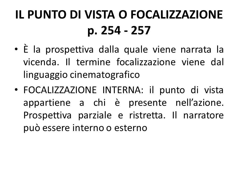 IL PUNTO DI VISTA O FOCALIZZAZIONE p. 254 - 257