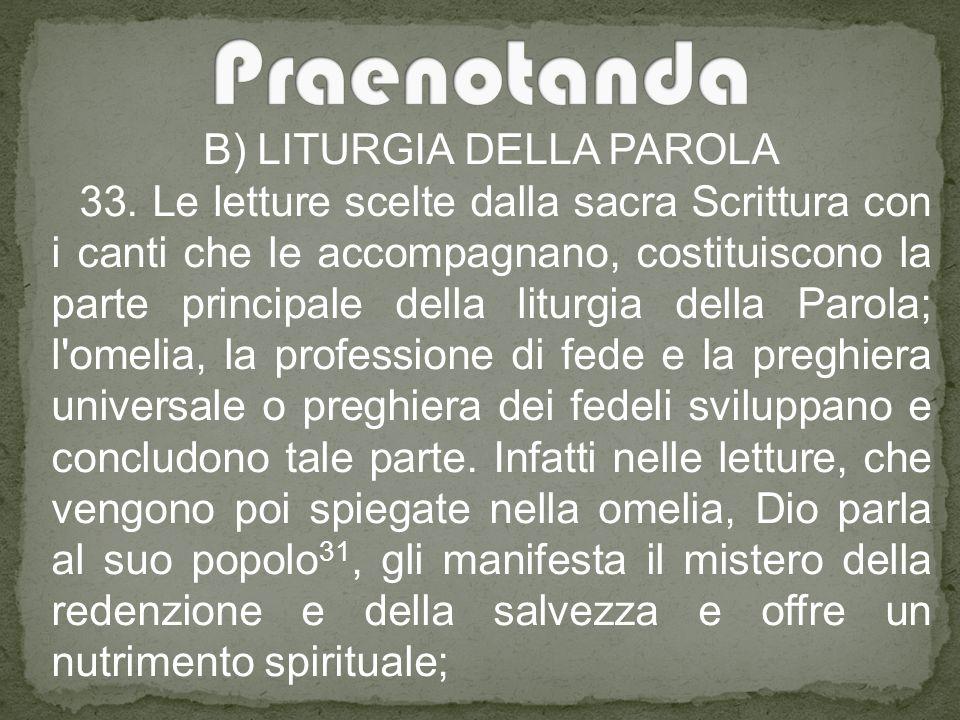B) LITURGIA DELLA PAROLA