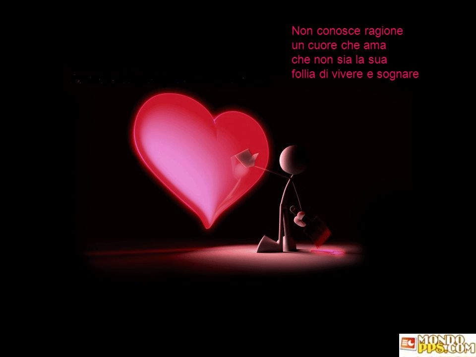 Non conosce ragione un cuore che ama che non sia la sua follia di vivere e sognare