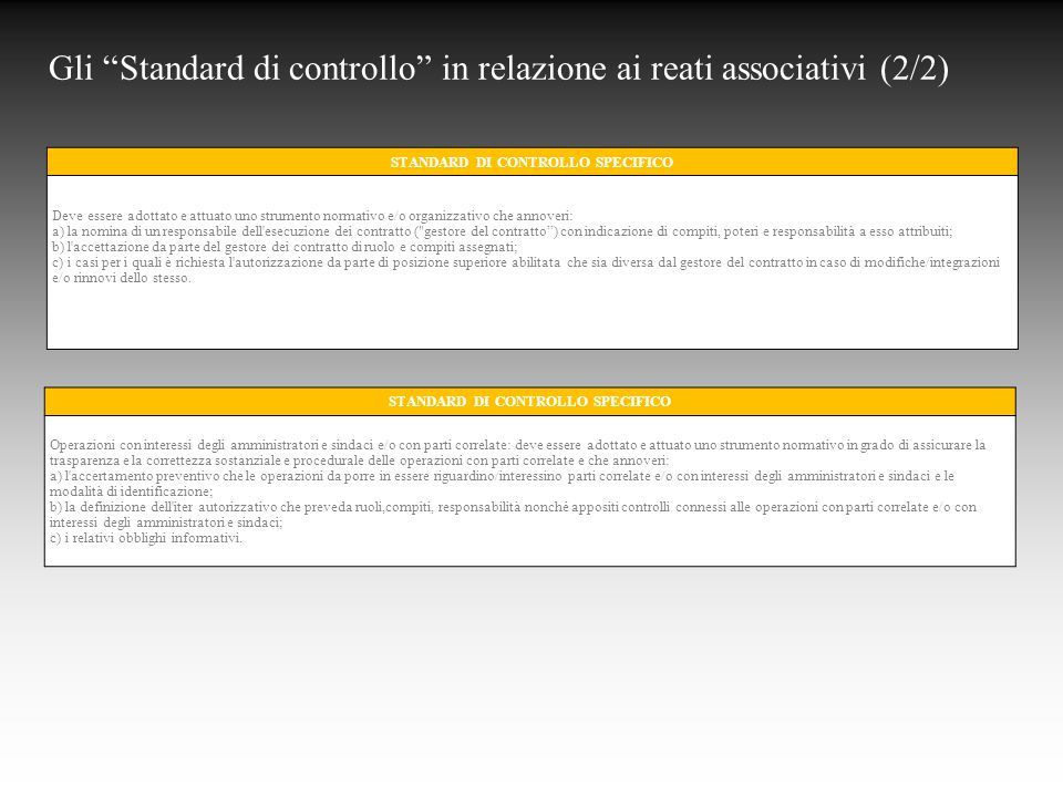 STANDARD DI CONTROLLO SPECIFICO STANDARD DI CONTROLLO SPECIFICO