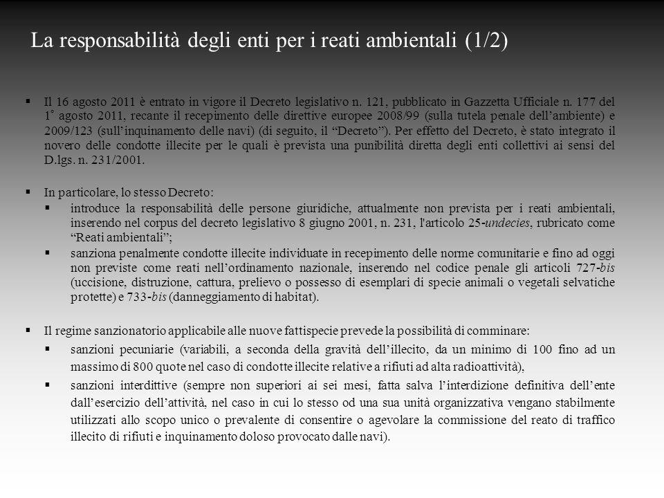 La responsabilità degli enti per i reati ambientali (1/2)