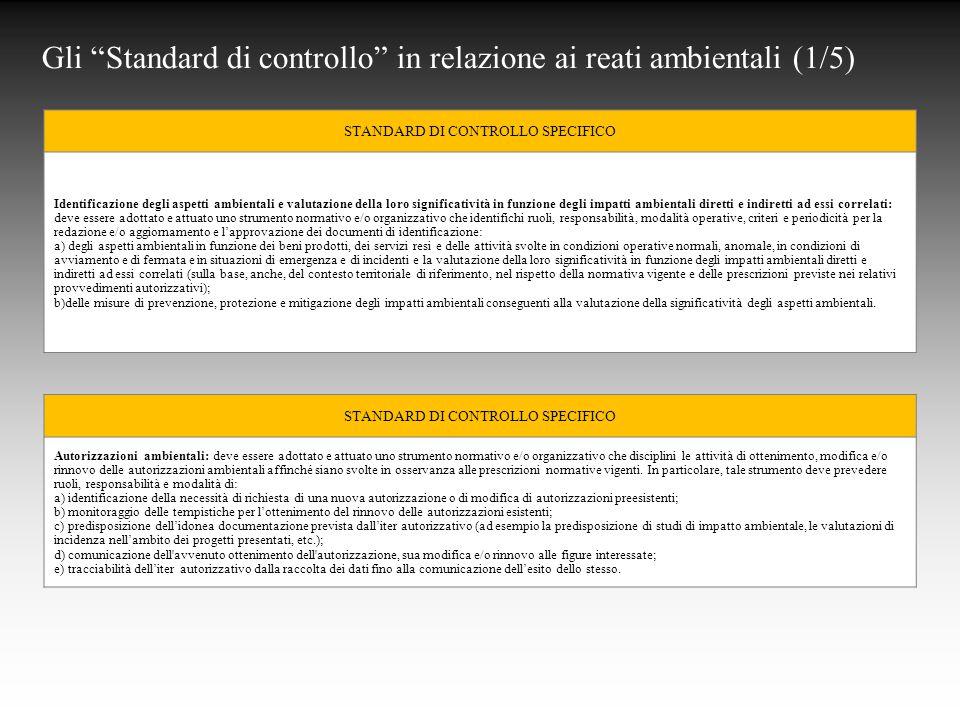 Gli Standard di controllo in relazione ai reati ambientali (1/5)