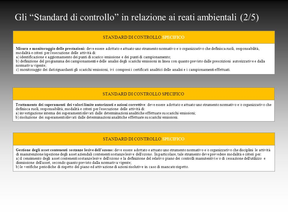 Gli Standard di controllo in relazione ai reati ambientali (2/5)