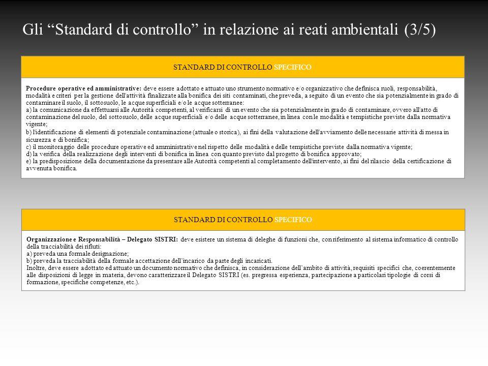 Gli Standard di controllo in relazione ai reati ambientali (3/5)