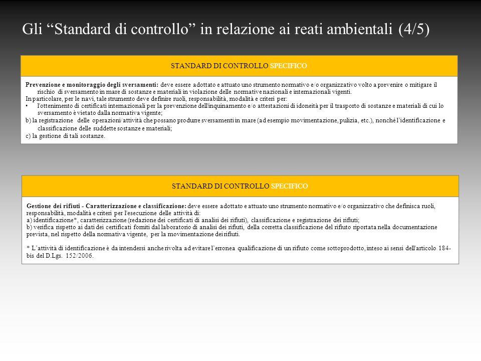 Gli Standard di controllo in relazione ai reati ambientali (4/5)