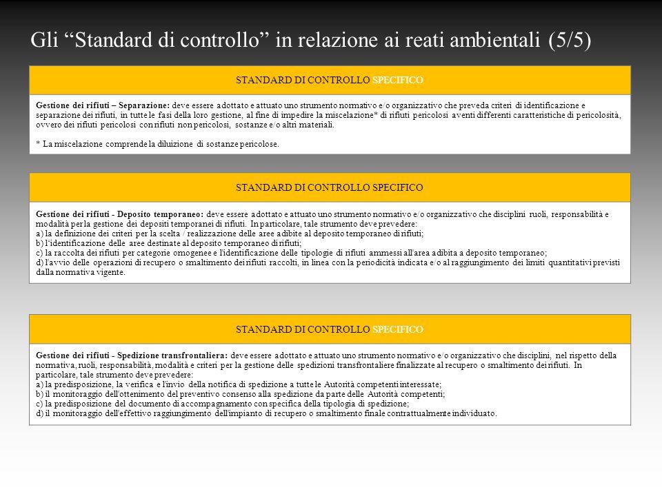 Gli Standard di controllo in relazione ai reati ambientali (5/5)
