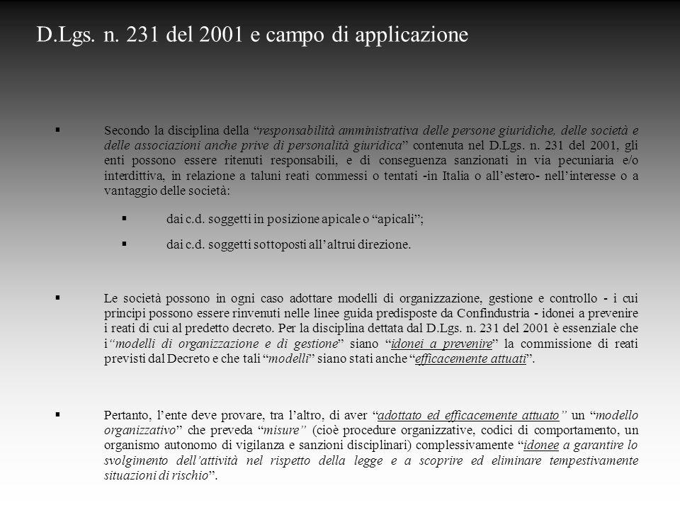 D.Lgs. n. 231 del 2001 e campo di applicazione