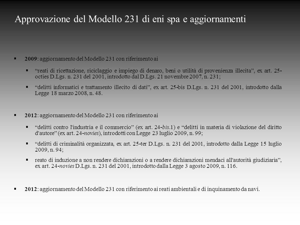 Approvazione del Modello 231 di eni spa e aggiornamenti