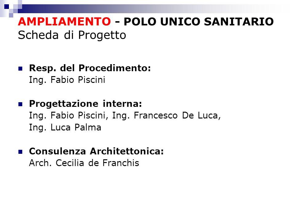 AMPLIAMENTO - POLO UNICO SANITARIO Scheda di Progetto