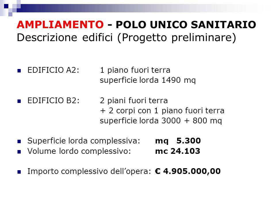 AMPLIAMENTO - POLO UNICO SANITARIO Descrizione edifici (Progetto preliminare)