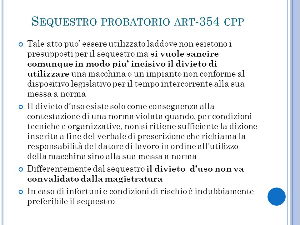 Sequestro probatorio art-354 cpp