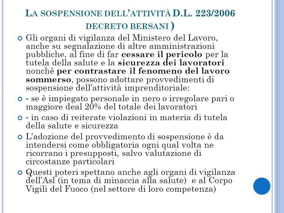 La sospensione dell'attività D.L. 223/2006 decreto bersani )