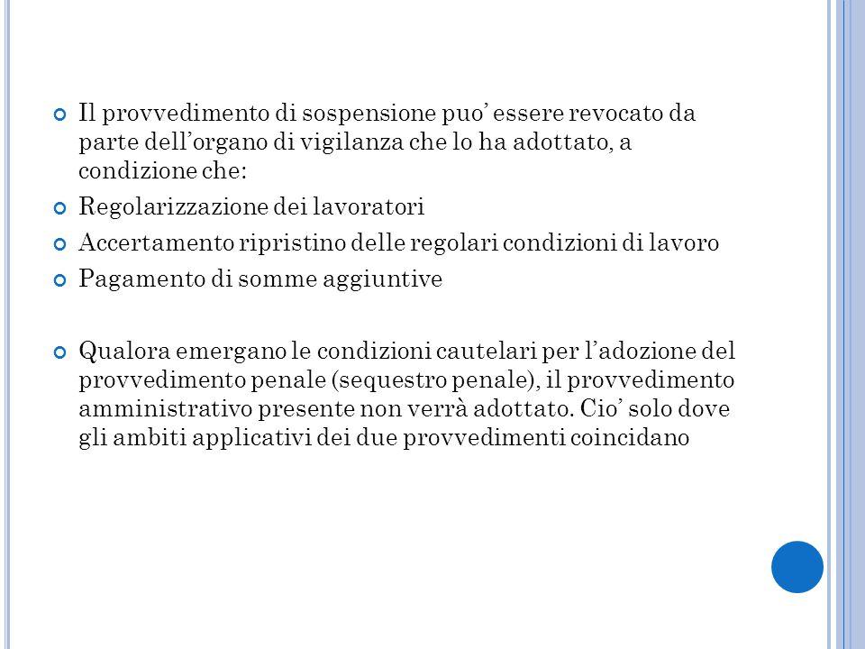 Il provvedimento di sospensione puo' essere revocato da parte dell'organo di vigilanza che lo ha adottato, a condizione che:
