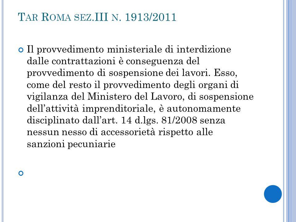 Tar Roma sez.III n. 1913/2011